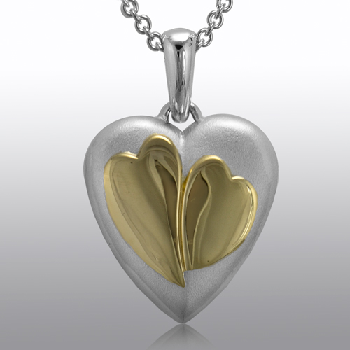 Two Hearts gold and silver cremation ash urn pendant fine jewelry