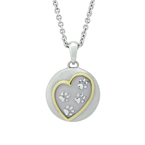 Sterling Cremation Ash Pendant with Heart Design Surrounding Dog Paws
